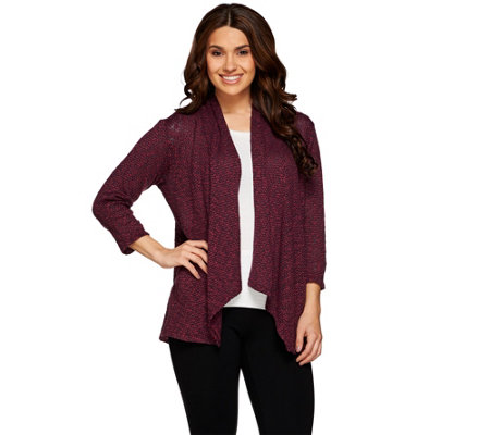 Joan Rivers Draped Popcorn Knit Cardigan with 3/4 Sleeves
