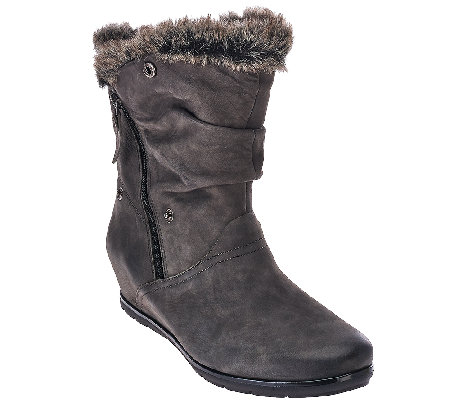 Earthies Leather Wedge Boots w/ Faux Fur Trim - Gelderland