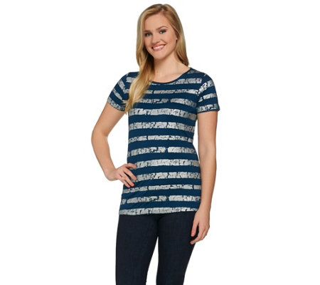 Lisa Rinna Collection Striped Foil Printed Knit Top