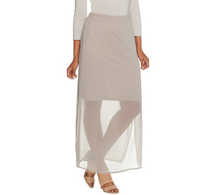 H by Halston Chiffon Maxi Skirt with Knit Lining