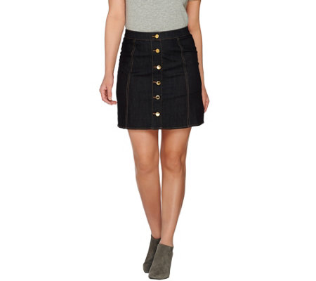 C. Wonder Stretch Denim Skirt with Status Buttons