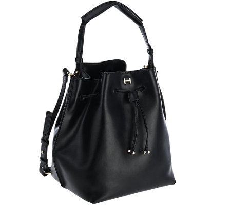 """As Is"" H by Halston Smooth Leather Drawstring Bucket Handbag"