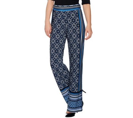 Attitudes by Renee Regular Pull-On Border Print Knit Pants