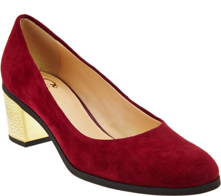 C. Wonder Suede Pumps with Hammered Heel - Eliza