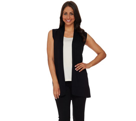 As Is Susan Graver Rayon Nylon Cascade Front Sweater Vest