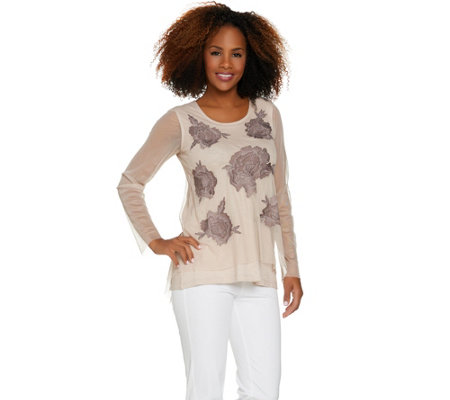 LOGO Lavish by Lori Goldstein Embroidered Mesh Top with Slub Knit Tank