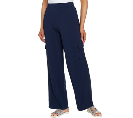 Denim & Co. Beach Petite Pull-On Wide Leg Knit Cargo Pants
