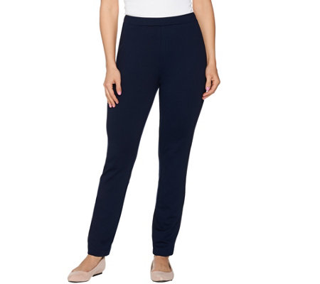 As Is Susan Graver Ponte Knit Slim Ankle Pants W Lacing Detail