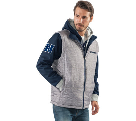 """As Is"" NFL Dallas 8-in-1 Reversible Vest and Hoodie Combo"