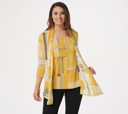 Susan Graver Printed Mesh Cardigan and Tank Set