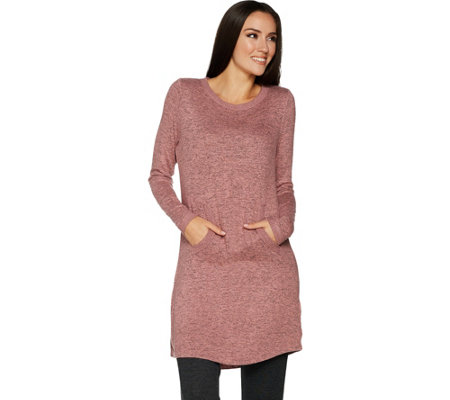 AnyBody Loungewear Brushed Hacci Tunic with Kangaroo Pocket