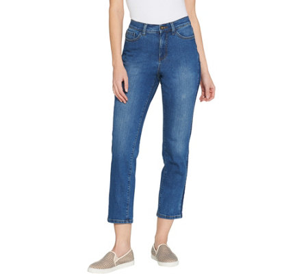 Studio by Denim & Co. Petite Classic Denim Shadow Stripe Jeans