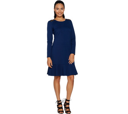 """As Is"" Du Jour Long Sleeve Ponte Knit Dress with Button Detail"