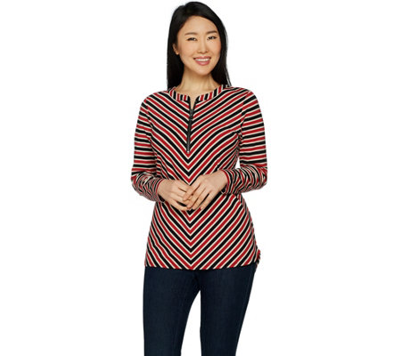 """As Is"" Susan Graver Weekend Striped Cotton Modal Top"