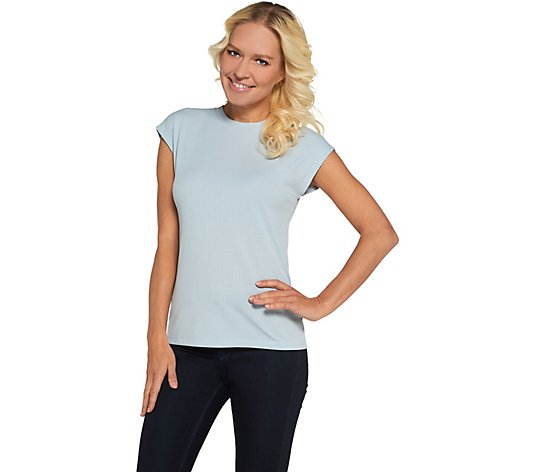 Lisa Rinna Collection Extended Shoulder Scoop Neck Tee