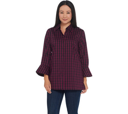 Joan Rivers Lightweight Gingham Shirt with Bell Sleeves