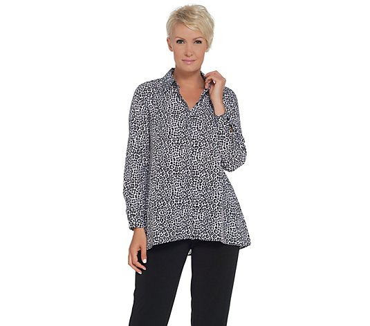 Joan Rivers Silky Animal Print Button Front Blouse