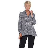 Joan Rivers Silky Animal Print Button Front Blouse - A310173