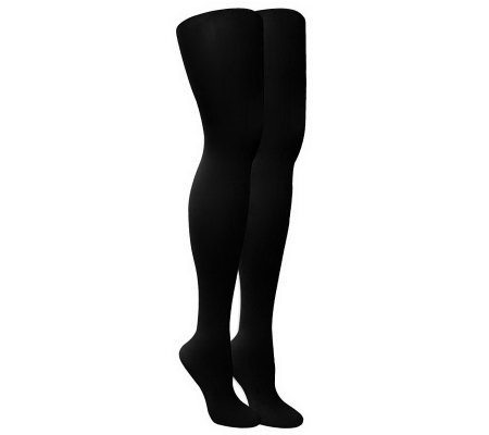 MUK LUKS Women's 2-Pair Pack Microfiber Herring bone Tights