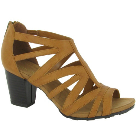 Easy Street Block Heel Sandals with Back Zip -Amaze