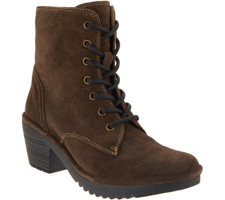 Fly London Suede Lace Up Mid Boots Woke