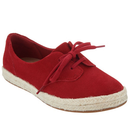 """As Is"" Clarks Suede Lace-up Espadrilles- Azella Jazlynn"