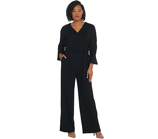 H by Halston Regular Knit Crepe Full Length Wide Leg Jumpsuit