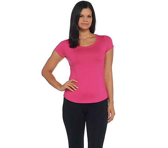 """As Is"" Susan Lucci Coll. Scoop Neck Cap Sleeve Top w/ Seam Detail"