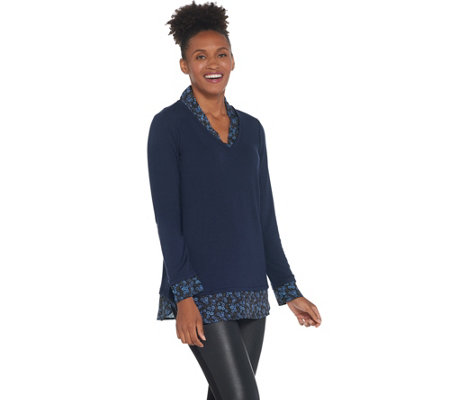 Kelly by Clinton Kelly Printed Mock Layer Shawl Collar Top