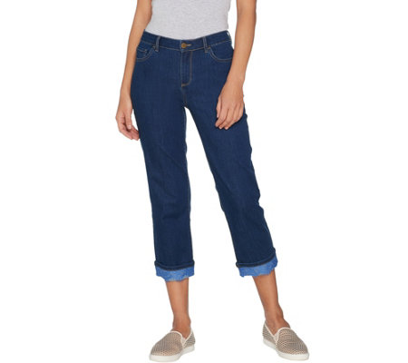 """As Is"" LOGO by Lori Goldstein Straight Crop Refined Jeans with Lace Cuff"