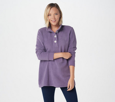 Denim Co Fleece Long Sleeve Tunic With Rib Trim