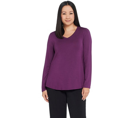 H by Halston Essentials V-Neck Long Sleeve Top