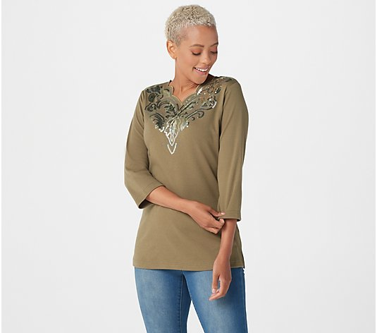 Quacker Factory 3/4-Sleeve Top with Scallop Neckline