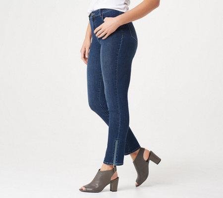 Susan Graver Petite High Stretch Denim Jeans W Zipper Detail