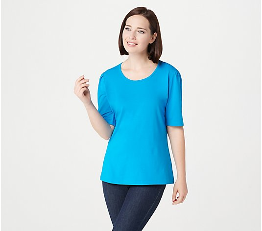 Denim & Co. Essentials Jersey Elbow-Sleeve Scoop-Neck Top