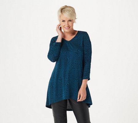 Dennis Basso Jacquard Knit Tunic with Ruched Sleeve Detail