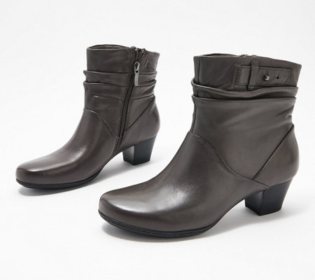 Earth Leather Heeled Ankle Boots , Calgary Winnipeg \u2014 QVC.com