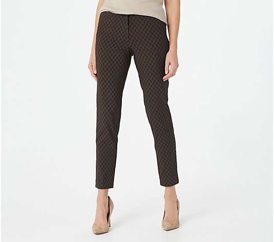 Susan Graver Regular Printed Uptown Stretch Zip-Front Slim-Leg Pants