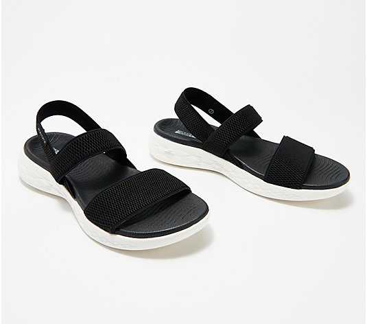 """As Is"" Skechers On-The -Go Gore Back- Strap Sandals - Flawless"