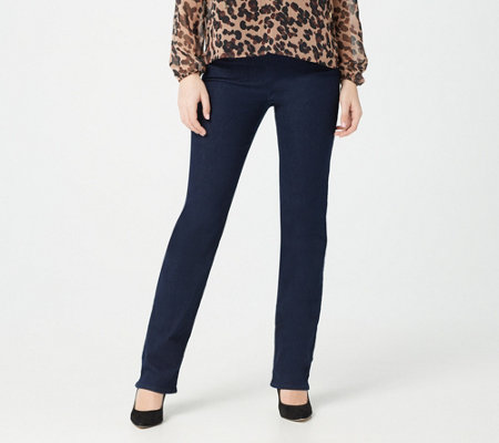 NYDJ Pull-On Straight-Leg Jeans with Side Slits- Rinse