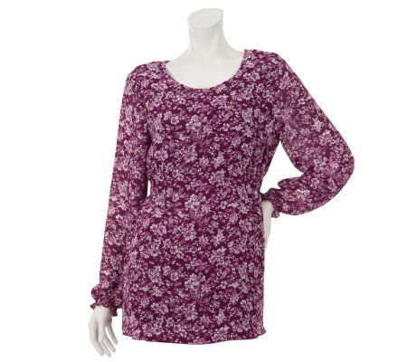 Denim & Co. Floral Print Georgette Peasant Top w/ Elastic Sides