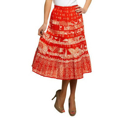 Susan Graver Printed Cotton Broomstick Tiered Skirt
