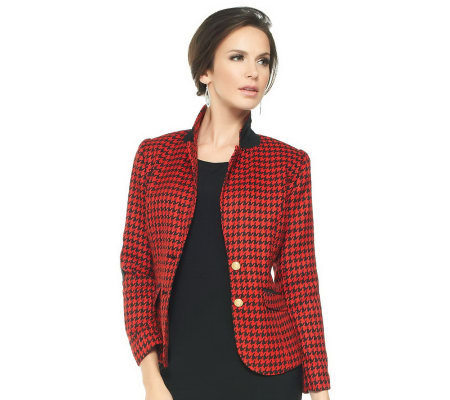 Joan Rivers Classic Long Sleeve Houndstooth Blazer
