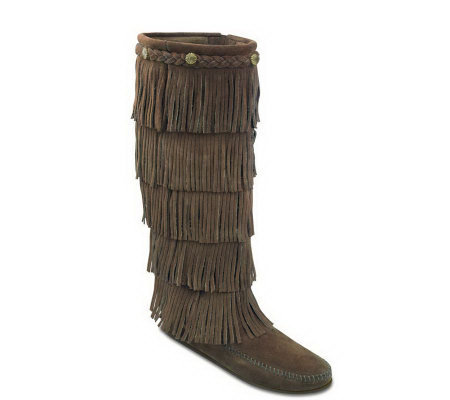 Minnetonka Women's Five-Layer Fringe Boots