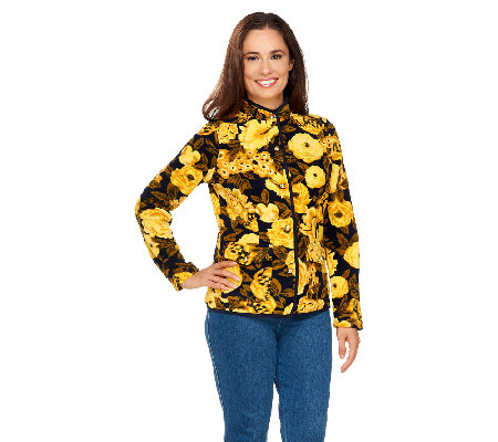 Isaac Mizrahi Live! Floral Printed Button Front Fleece Jacket