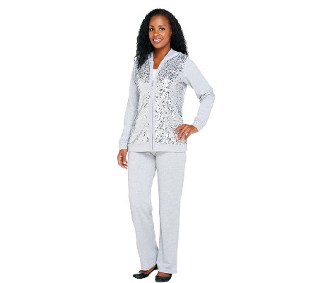 Quacker Factory Sequin Front Jacket and Pants Set