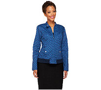 Isaac Mizrahi Live! Houndstooth Printed Bomber Jacket - A258474