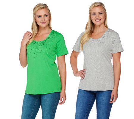 Quacker Factory Set of 2 Short Sleeve Studded T-shirt