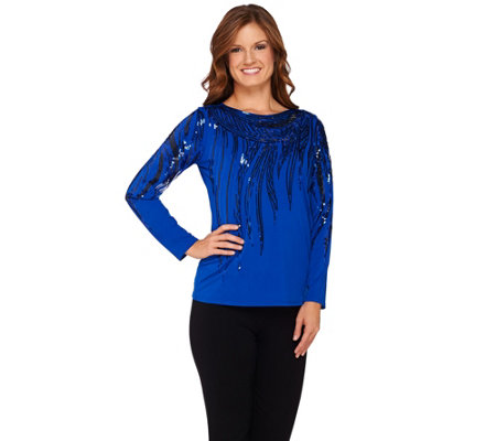 Bob Mackie's Long Sleeve Bateau Neck Knit Top with Sequin Detail