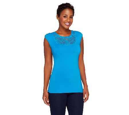 """As Is""Kathleen Kirkwood Shoulder Padded Cap Sleeve Top with Lace"